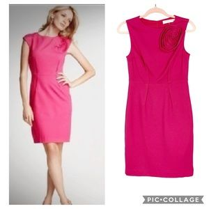 Trina Turk Pink Sheath Dress with Flower EUC